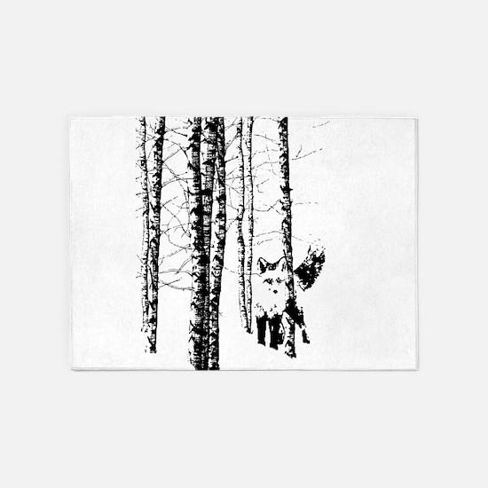 Fox in Birch Forest Modern Art 5'x7'Area Rug
