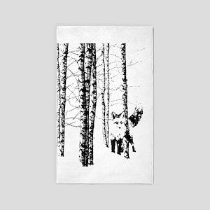 Fox in Birch Forest Modern Art Area Rug
