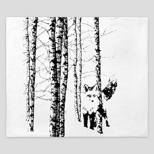 Fox in Birch Forest Modern Art King Duvet
