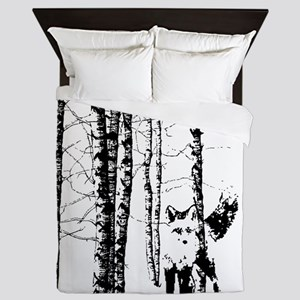Fox in Birch Forest Modern Art Queen Duvet