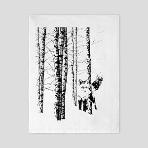 Fox In Birch Forest Modern Art Twin Duvet