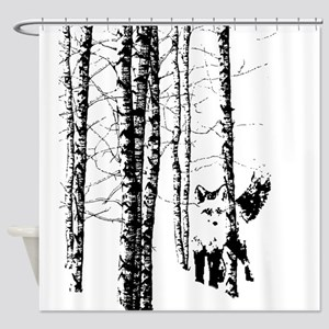 Fox in Birch Forest Modern Art Shower Curtain