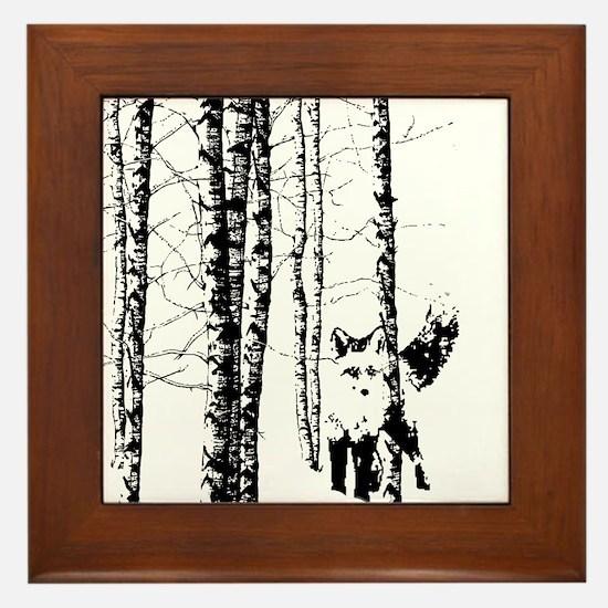 Fox in Birch Forest Modern Art Framed Tile