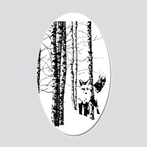 Fox In Birch Forest Modern 20x12 Oval Wall Decal