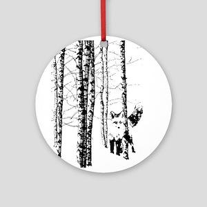 Fox in Birch Forest Modern Art Ornament (Round)