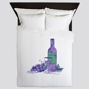 WINE BOTTLE AND GRAPES Queen Duvet