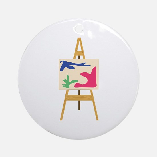 Painters Easel Ornament (Round)