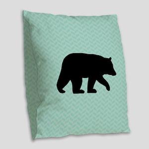 Black Bear Burlap Throw Pillow