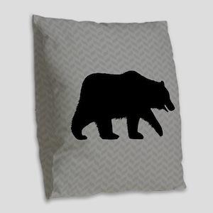 Grizzly Bear Burlap Throw Pillow