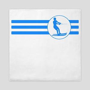 Water Skier Stripes (Blue) Queen Duvet