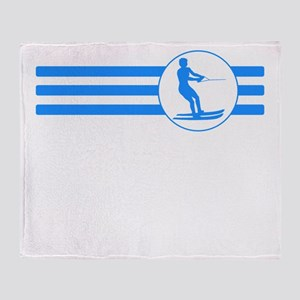 Water Skier Stripes (Blue) Throw Blanket
