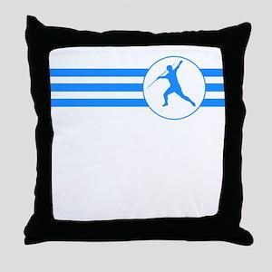 Javelin Throw Stripes (Blue) Throw Pillow