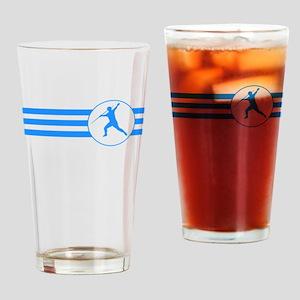 Javelin Throw Stripes (Blue) Drinking Glass