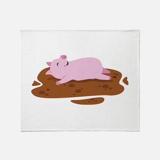 Happy Pig Throw Blanket