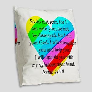 ISAIAH 41:10 Burlap Throw Pillow