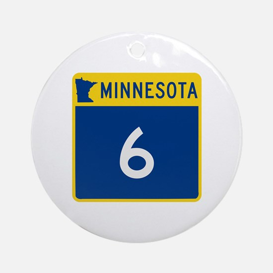 Trunk Highway 6, Minnesota Ornament (Round)