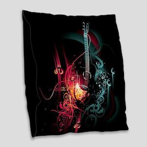 Electric Guitar Burlap Throw Pillow