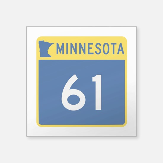 "Trunk Highway 61, Minnesota Square Sticker 3"" x 3"""