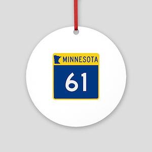 Trunk Highway 61, Minnesota Ornament (Round)