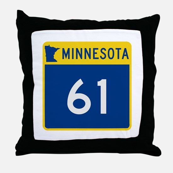Trunk Highway 61, Minnesota Throw Pillow