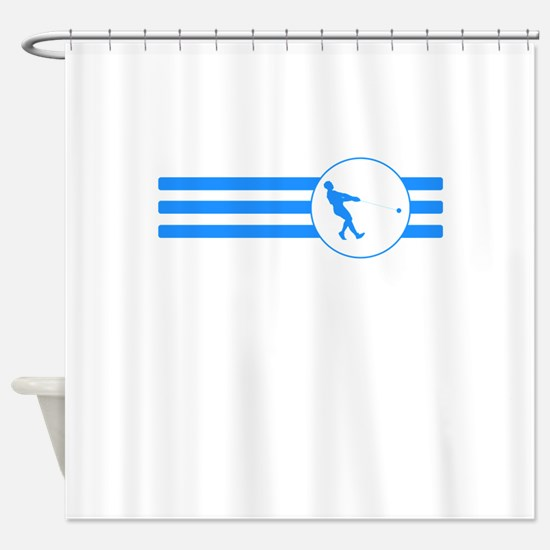 Hammer Throw Stripes (Blue) Shower Curtain