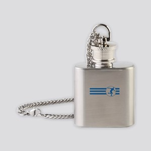 Discus Throw Stripes (Blue) Flask Necklace