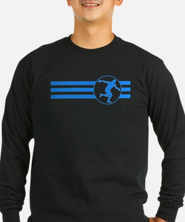 Discus Throw Stripes (Blue) Long Sleeve T-Shirt