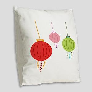 Hanging Lanterns Burlap Throw Pillow