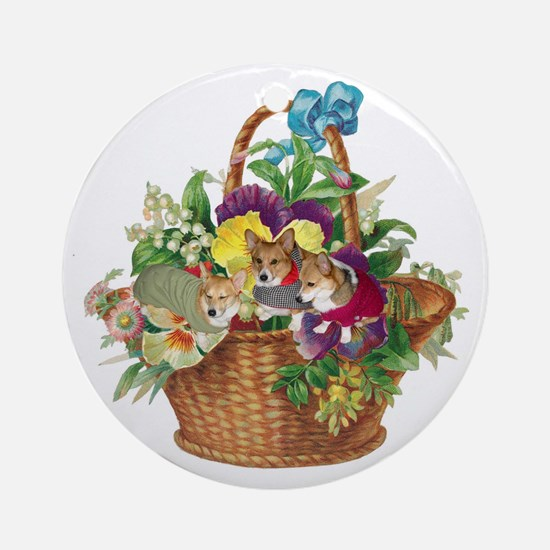 CORGIS IN A BASKET Ornament (Round)