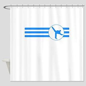 Karate Kick Stripes (Blue) Shower Curtain