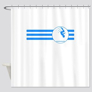 Gymnast Stripes (Blue) Shower Curtain