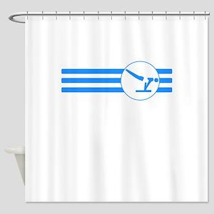 Gymnastics Stripes (Blue) Shower Curtain