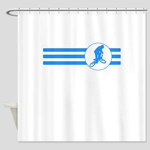 BMX Biker Stripes (Blue) Shower Curtain