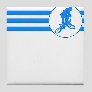 BMX Biker Stripes (Blue) Tile Coaster