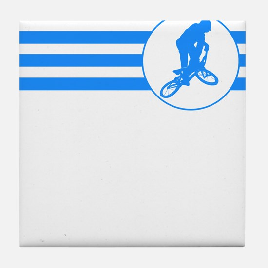 BMX Biker Stripes (Blue) Tile Coaster