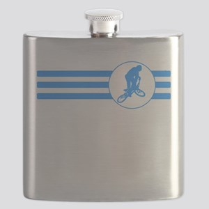 BMX Biker Stripes (Blue) Flask