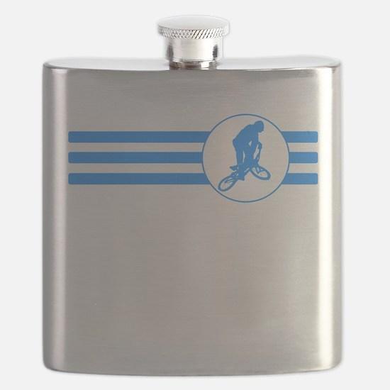 BMX Biker Stripes (Blue) Flask
