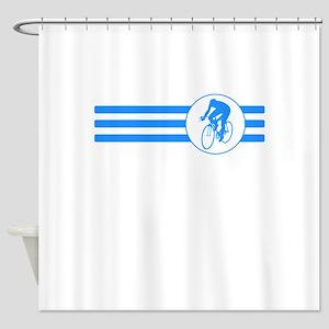 Cyclist Stripes (Blue) Shower Curtain