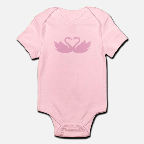 Pink swans heart Body Suit