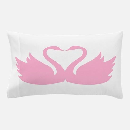 Pink swans heart Pillow Case