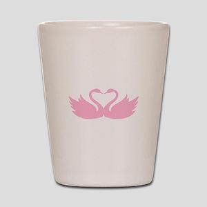 Pink swans heart Shot Glass