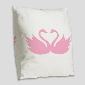 Pink swans heart Burlap Throw Pillow