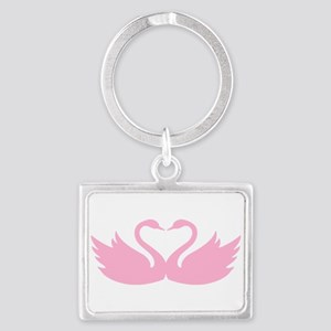 Pink swans heart Keychains