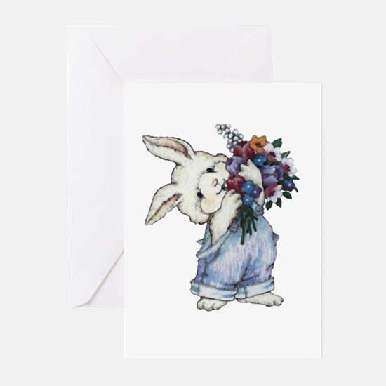 Bunny with Flowers Greeting Cards (Pk of 20)