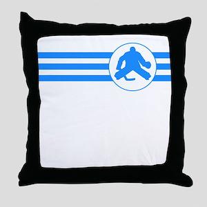 Hockey Goalie Stripes (Blue) Throw Pillow