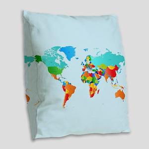 World Map Burlap Throw Pillow