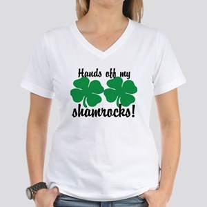 Hands Off Shamrocks Women's V-Neck T-Shirt