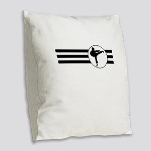 Karate Kick Stripes Burlap Throw Pillow