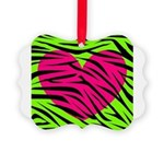Hot Pink Green Zebra Striped Heart Ornament