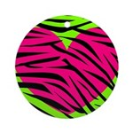 Hot Pink Green Zebra Striped Heart Ornament (Round